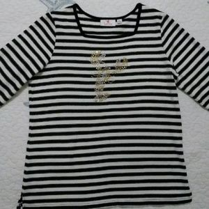 Quacker Factory Striped Top with Lobster Accent